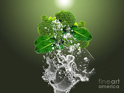 Broccoli Mixed Media - Broccoli Splash by Marvin Blaine