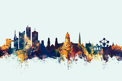 Bruxelles Digital Art - Brussels Belgium Skyline by Michael Tompsett