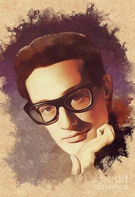 Rock And Roll Royalty-Free and Rights-Managed Images - Buddy Holly, Music Legend by Mary Bassett