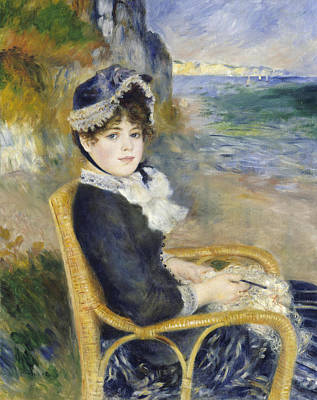 Silk Painting - By The Seashore by Pierre Auguste Renoir