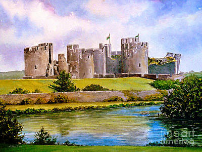 Brick Building Painting - Caerphilly Castle by Andrew Read