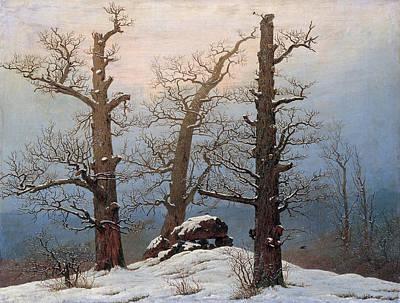 Caspar David Friedrich Painting - Cairn In Snow by Caspar David Friedrich