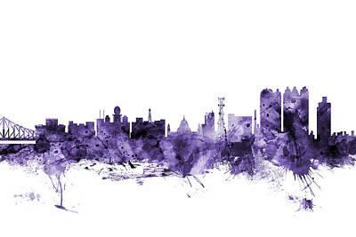 Digital Art - Calcutta Kolkata India Skyline by Michael Tompsett