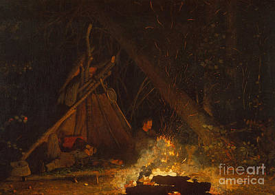 Upstate Painting - Camp Fire by Winslow Homer