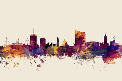 Great Britain Digital Art - Cardiff Wales Skyline by Michael Tompsett