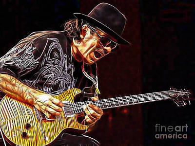 Guitar Mixed Media - Carlos Santana Collection by Marvin Blaine