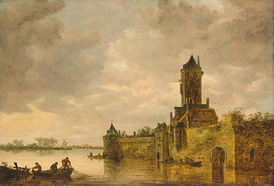 Small Lonely Painting - Castle By A River by Jan Van Goyen
