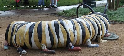 Faducci Sculpture - Caterpillar At Davis Central Park Davis Ca. by Faducci- Solomon Bassoff Domenica Mottarella
