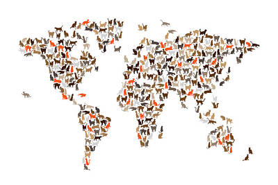 Digital Art - Cats Map Of The World Map by Michael Tompsett