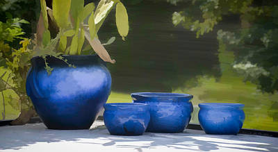4 Ceramic Blue Pots - Water Color Effect Print by Greg Jackson