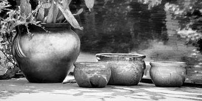 4 Ceramic Pots In Black And White Print by Greg Jackson