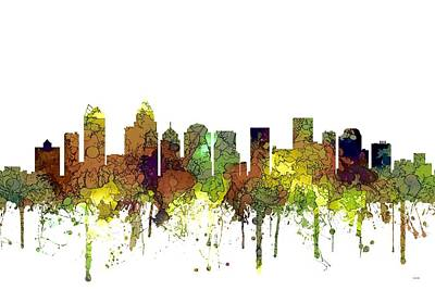 Digital Art - Charlotte Nc Skyline Skyline by Marlene Watson