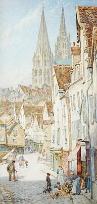Chartre Painting - Chartres From The Porte Guillaume by Thomas Matthews