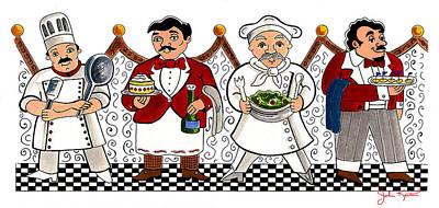 Painting - 4 Chefs by John Keaton