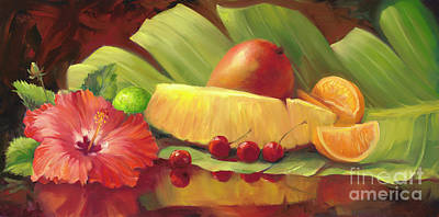 4 Cherries Art Print by Laurie Hein