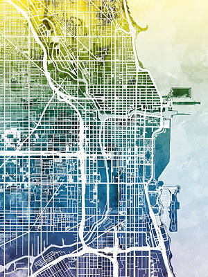 Chicago City Street Map Art Print