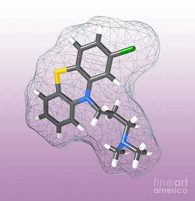 Bipolar Photograph - Chlorpromazine, Molecular Model by Spencer Sutton