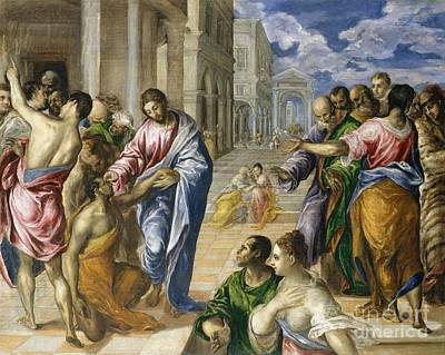 Charity Painting - Christ Healing The Blind by El Greco