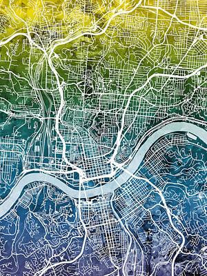 Digital Art - Cincinnati Ohio City Map by Michael Tompsett