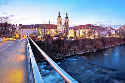Photograph - City Of Graz Mur River And Island Evening View by Brch Photography