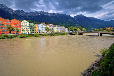 Photograph - City Of Innsbruck Colorful Inn River Waterfront Panorama by Brch Photography