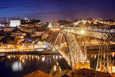 Photograph - City Of Porto By Night In Portugal by Artur Bogacki