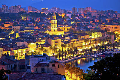 Photograph - City Of Split Aerial View At Dawn by Brch Photography