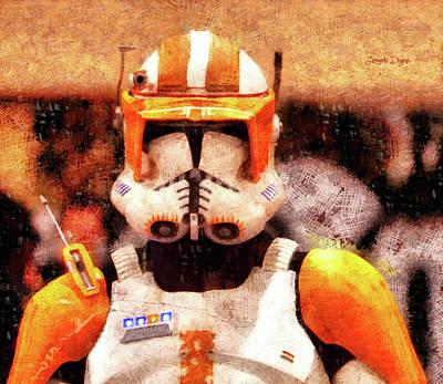 Star Painting - Clone Trooper Commander - Wax Style by Leonardo Digenio