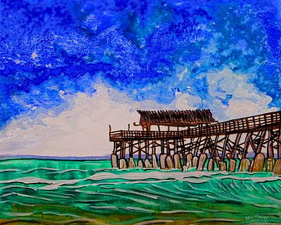 Gods Sunshine Art Painting - Cocoa Beach Pier by W Gilroy