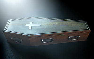 Scary Digital Art - Coffin And Crucifix by Allan Swart