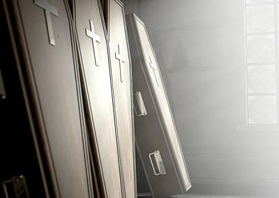 Funeral Digital Art - Coffin Row In A Room by Allan Swart