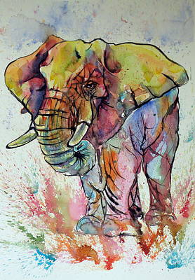 Yellow Elephant Painting - Colorful Elephant by Kovacs Anna Brigitta