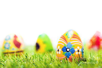 Copy Photograph - Colorful Hand Painted Easter Eggs In Grass by Michal Bednarek