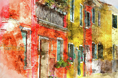 Photograph - Colorful Houses In Burano Island Venice Italy by Brandon Bourdages
