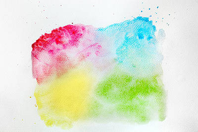 Graphic Photograph - Colorful Watercolor Paint On White Canvas. Super High Resolution And Quality. by Michal Bednarek