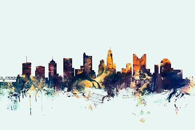 Ohio Digital Art - Columbus Ohio Skyline by Michael Tompsett