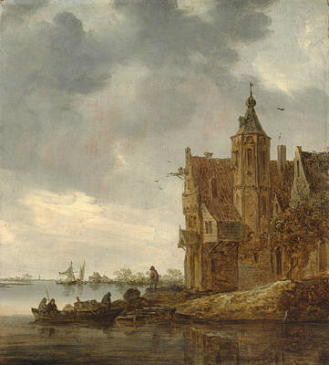 Small Lonely Painting - Country House Near The Water by Jan Van Goyen