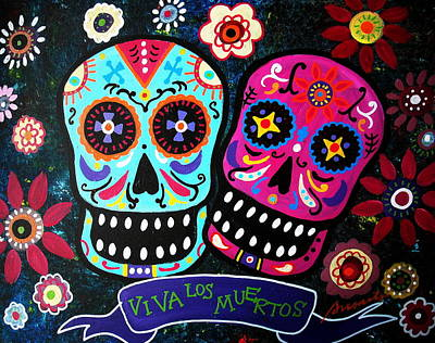 Couple Day Of The Dead Print by Pristine Cartera Turkus