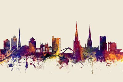 Great Britain Digital Art - Coventry England Skyline by Michael Tompsett