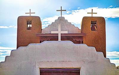 Photograph - 4 Crosses Of Taos Pueblo Church by Robert Meyers-Lussier