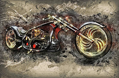 Digital Art - Custom Chopper by Louis Ferreira