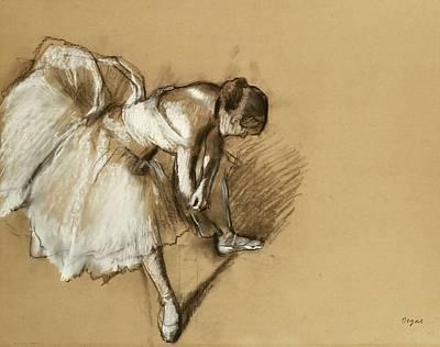 Degas Pastel - Dancer Adjusting Her Shoe by Edgar Degas