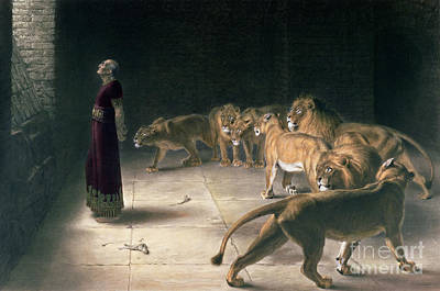Male Cat Painting - Daniel In The Lions Den by Briton Riviere