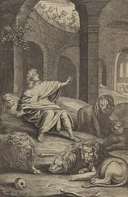 Daniel In The Lions' Den Art Print by English School