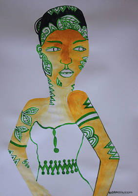 Painting - Decorated African Queen by Gloria Ssali