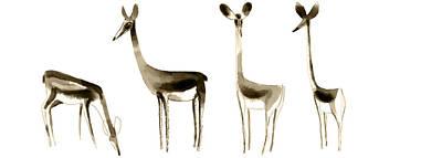 Painting - 4 Deers by Moin Samadi
