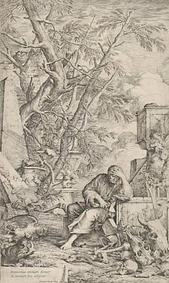 Relief - Democritus In Meditation by Salvator Rosa