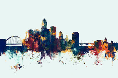 Cityscape Digital Art - Des Moines Iowa Skyline by Michael Tompsett