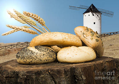 Photograph - Different Breads And Windmill In The Background by Deyan Georgiev