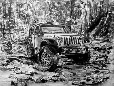4 Door Jeep Rubicon - Bw Art Print